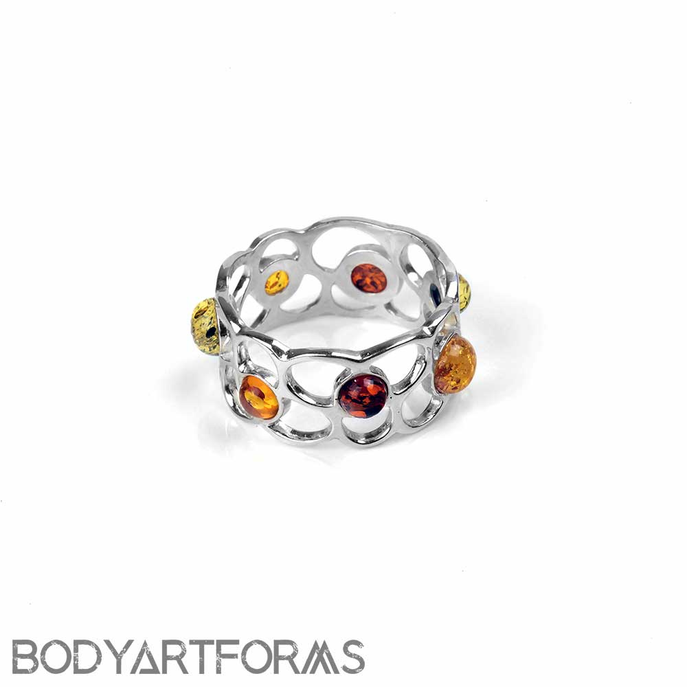 Silver and Amber Flower Crown Ring