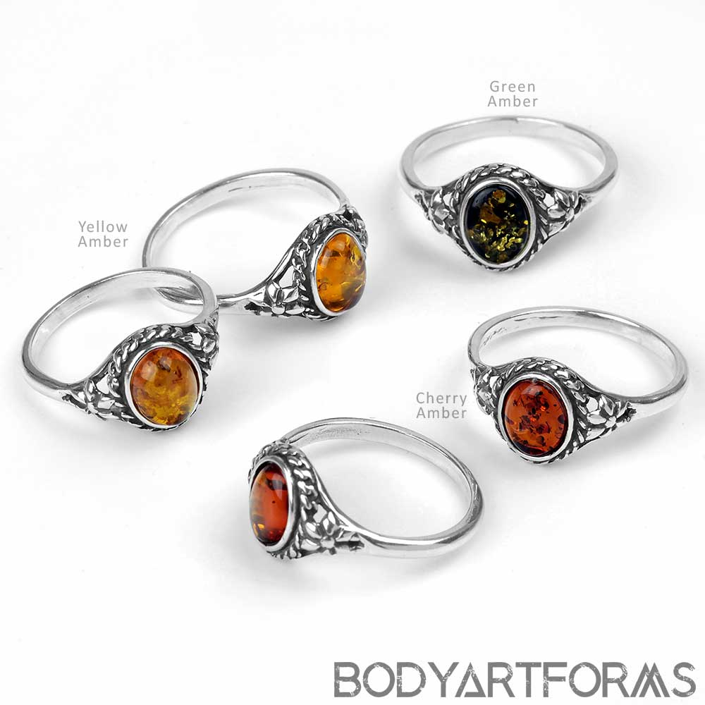 Flower Patch Amber Ring