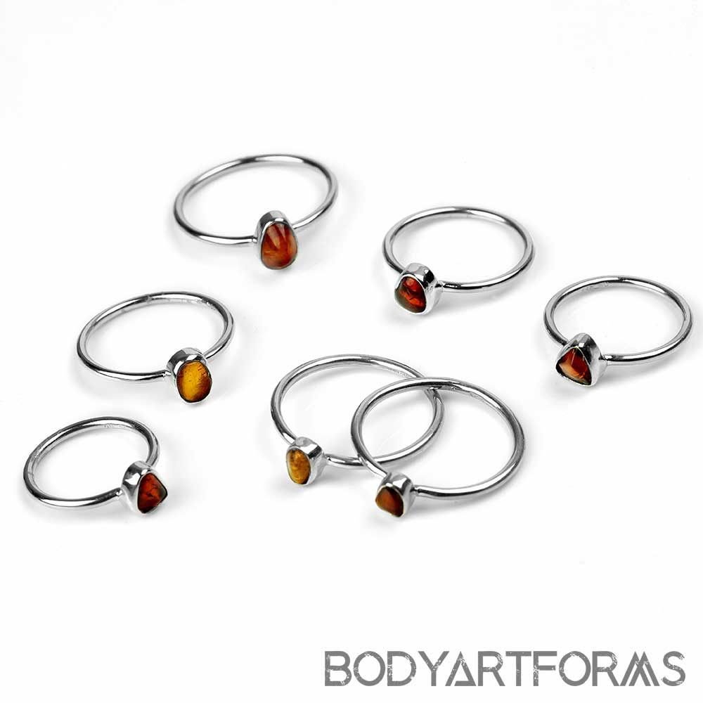 Silver and Free Form Amber Ring