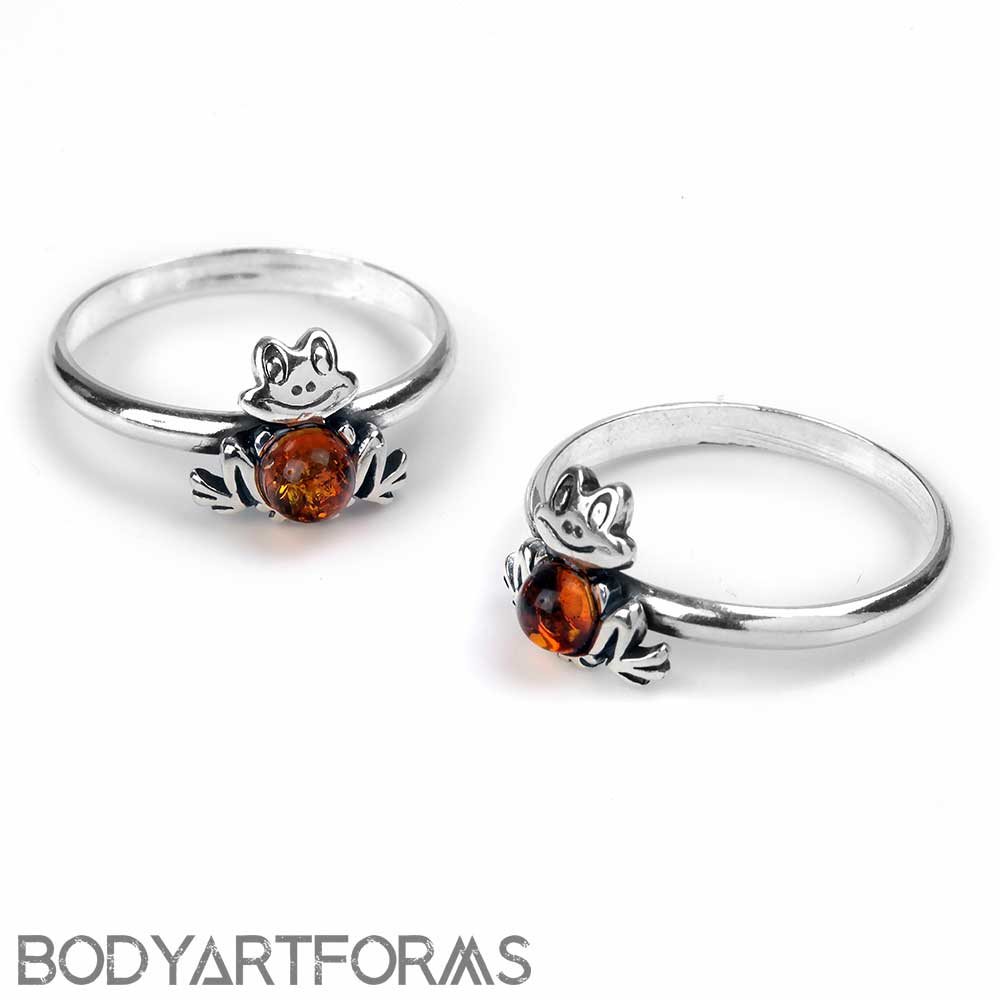 Amber Frog Ring
