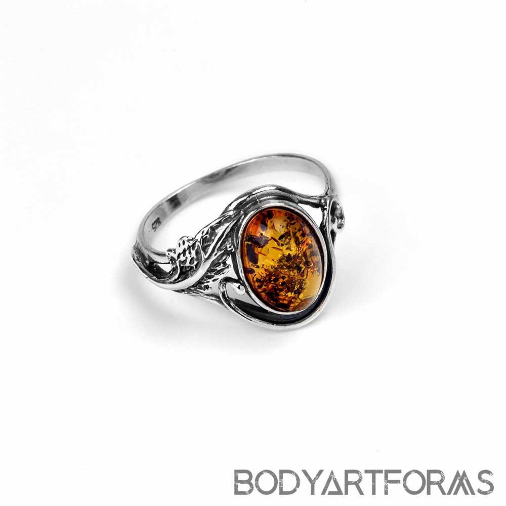 Sterling Silver Garden Amber Ring