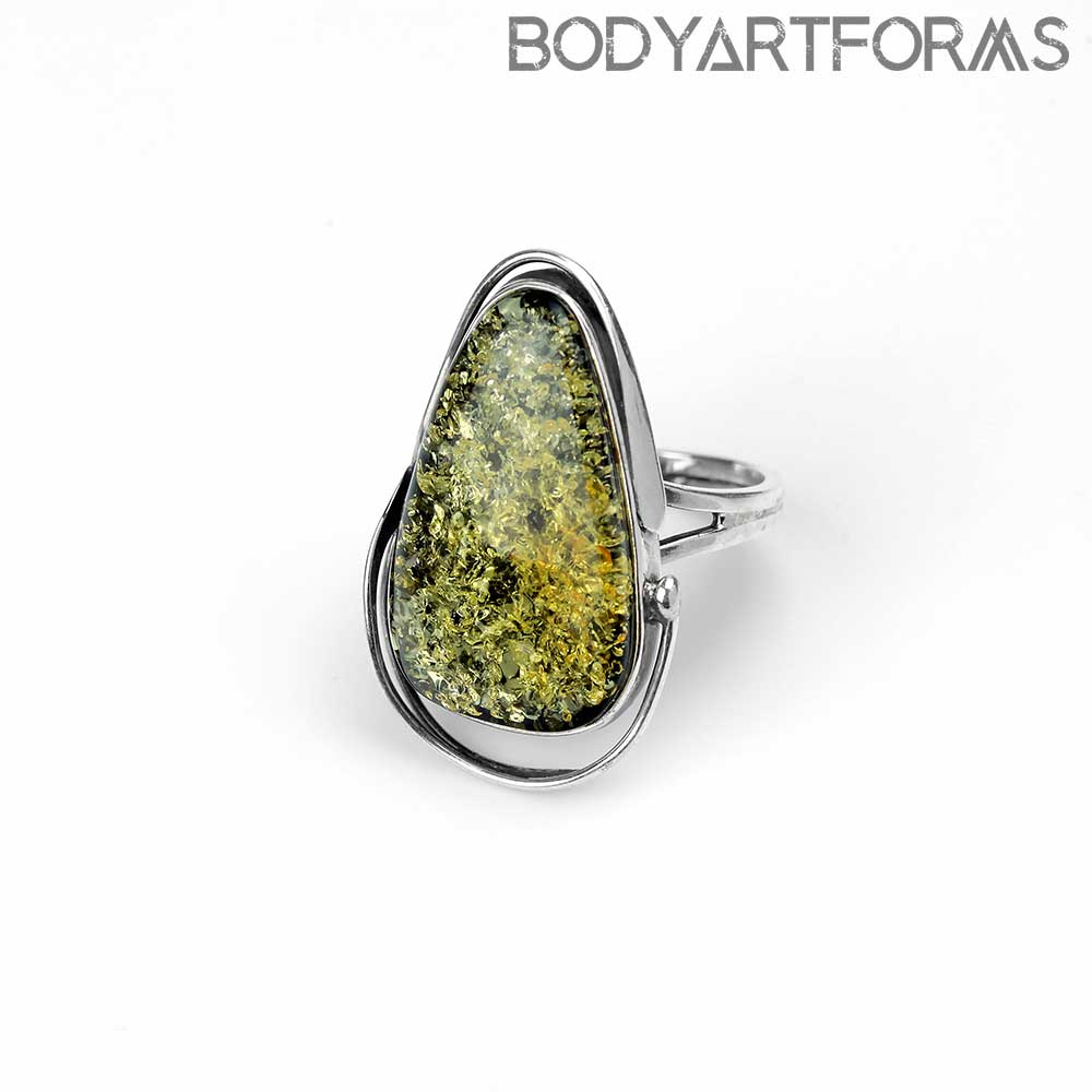 Adjustable Green Amber Orbit Ring