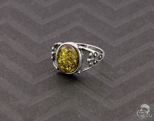 Silver and Green Baltic Amber Ring