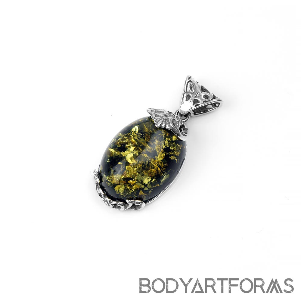 Silver and Green Amber Rococo Pendant
