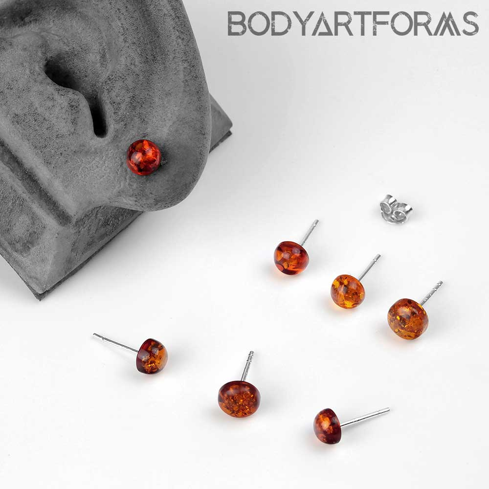 Half Dome Amber Stud Earrings