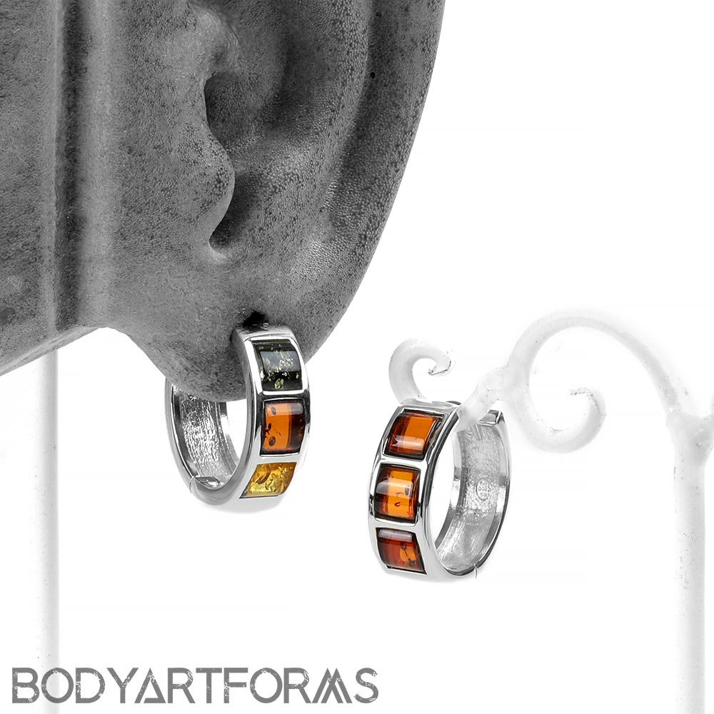 Sterling Silver and Square Amber Huggie Earrings