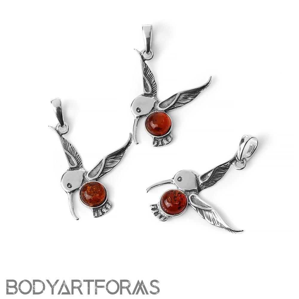 Silver and Amber Hummingbird Pendant