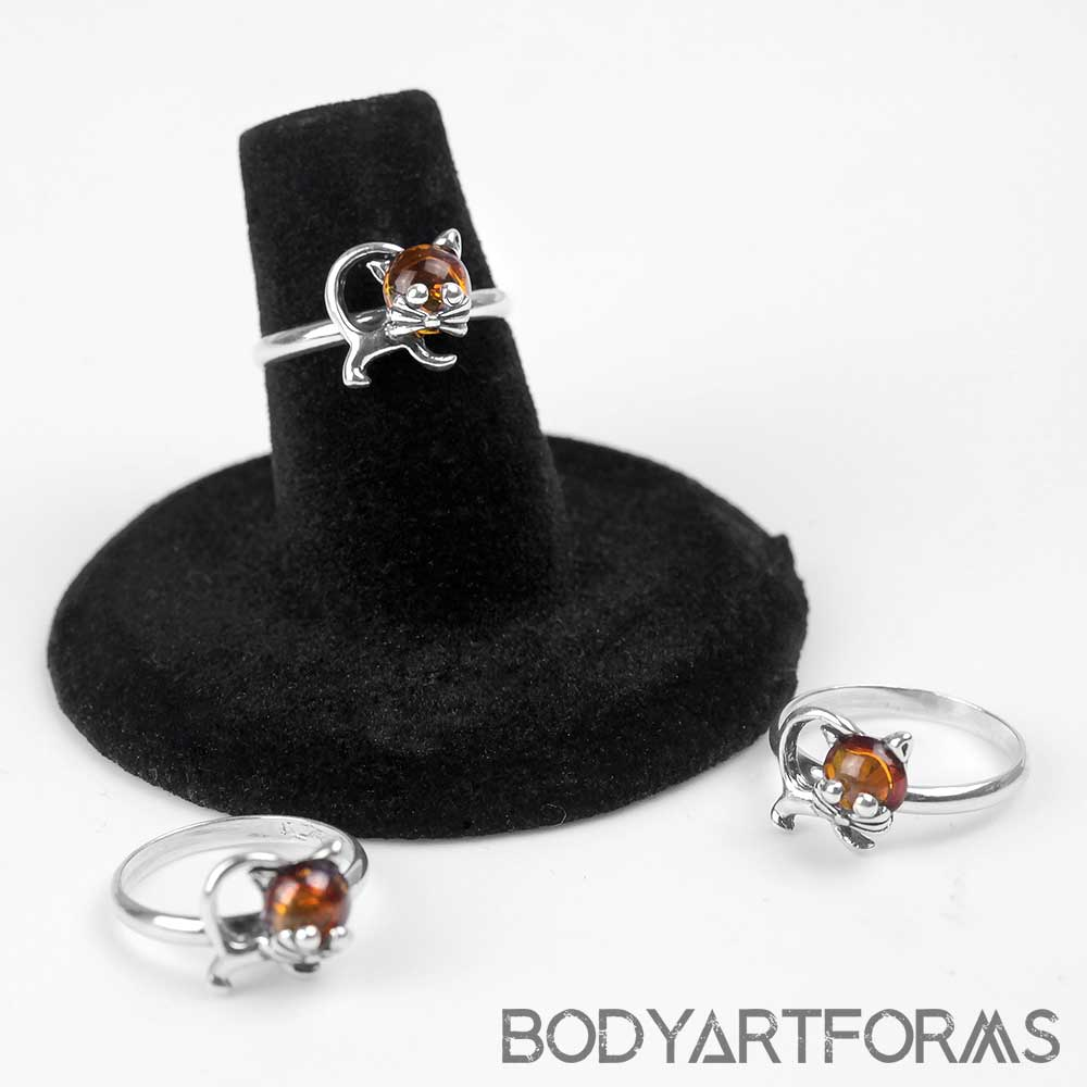 Silver and Amber Kitty Cat Ring