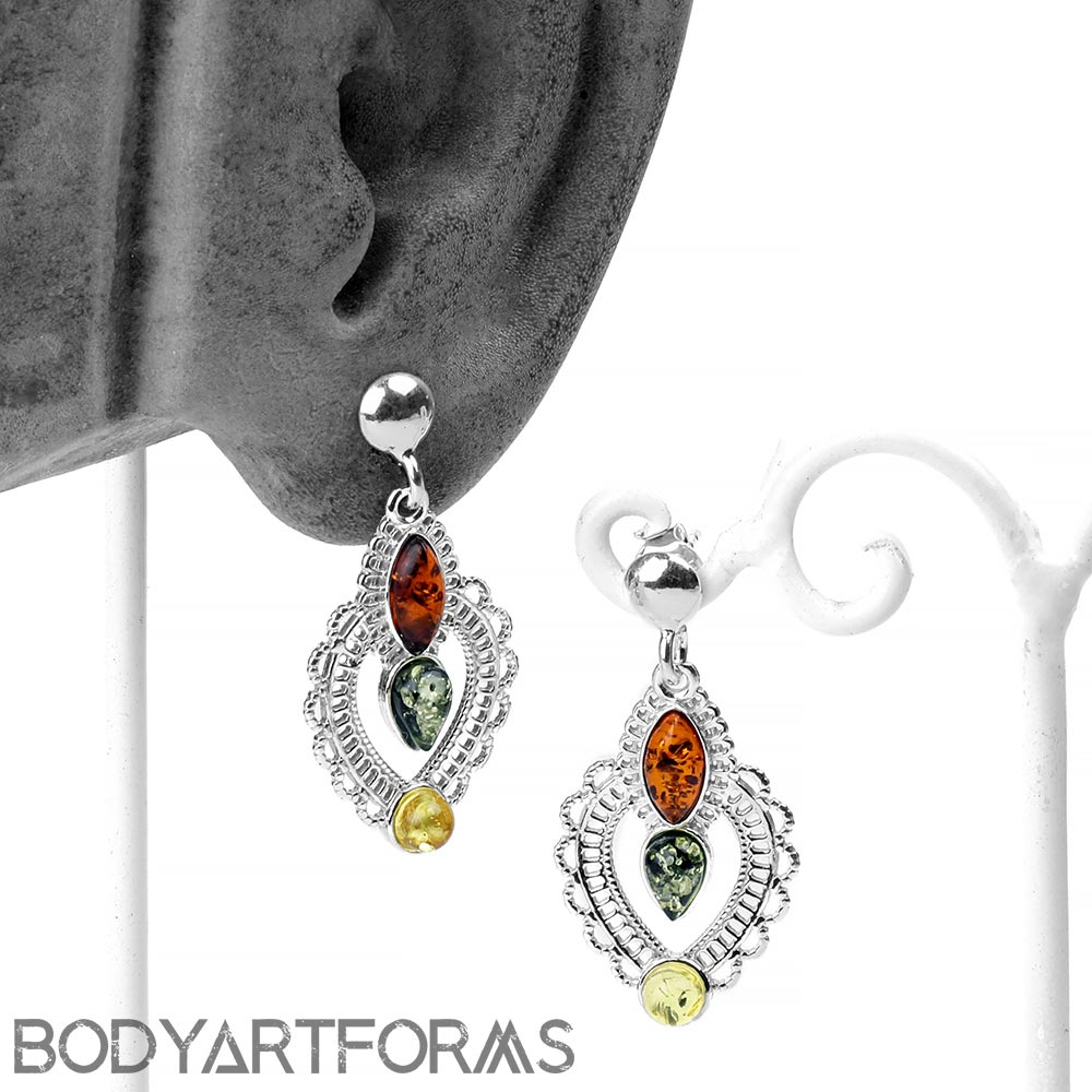 Silver Lace and Mixed Amber Dangle Earrings