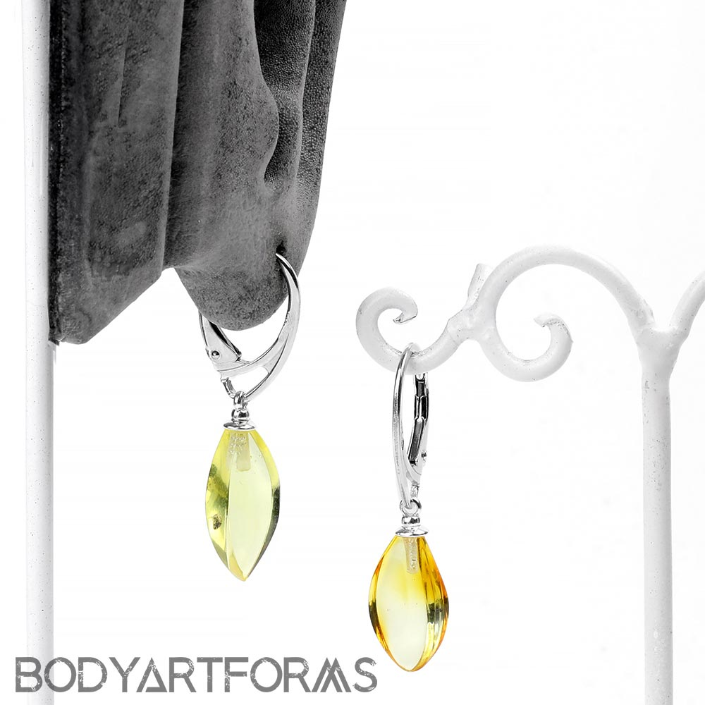 Silver and Lemon Amber Drop Earrings