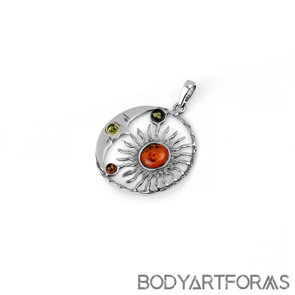 Silver and Amber Man on the Moon Pendant
