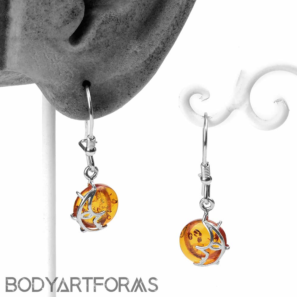 Silver and Amber Man on the Moon Earrings