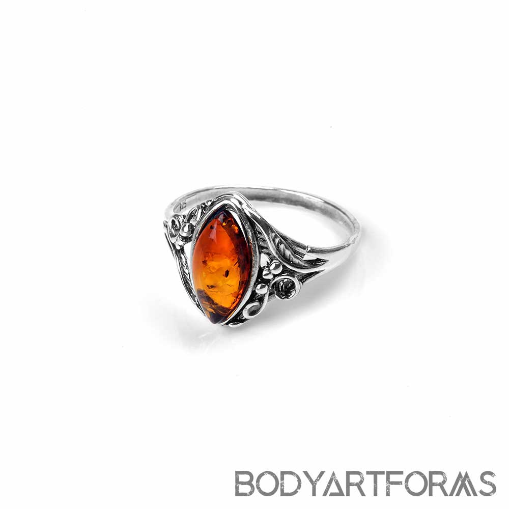 Silver and Marquise Amber Ring