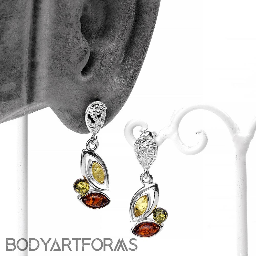 Silver and Mixed Amber Garden Dangle Earrings