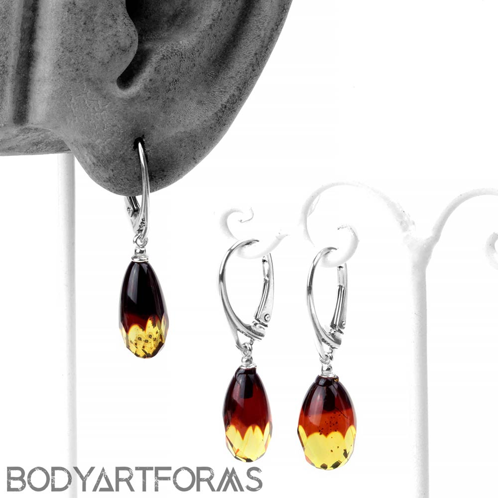 Silver and Faceted Ombre Amber Earrings