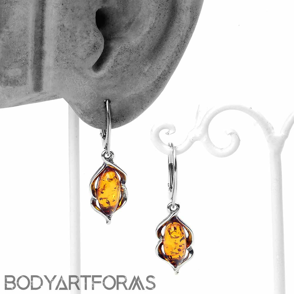 Silver and Amber Opulent Drop Earrings