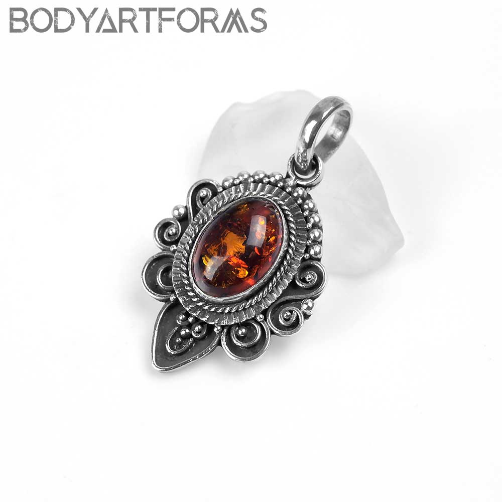 Opulent Silver and Amber Pendant