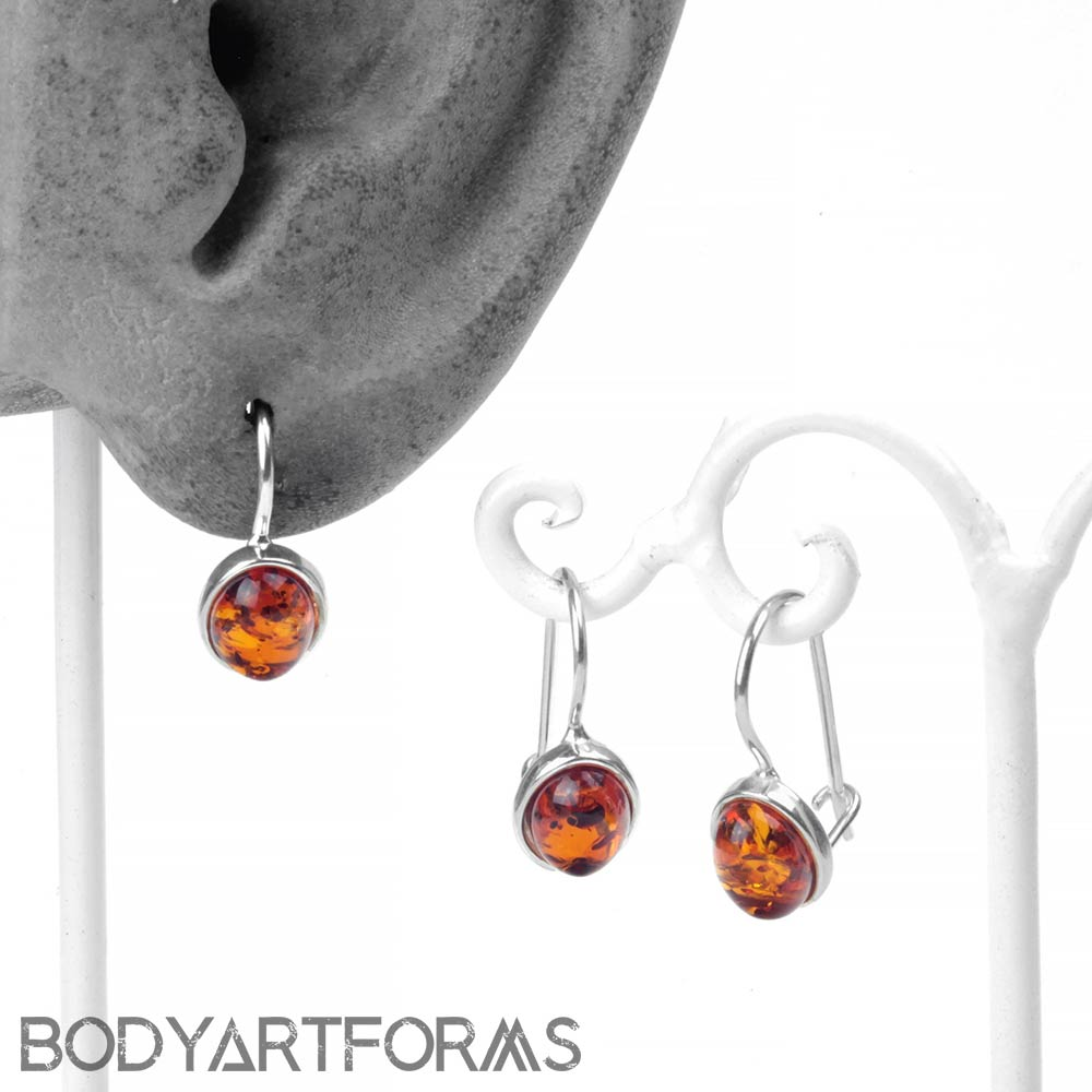 Silver and Oval Amber Dangle Earrings