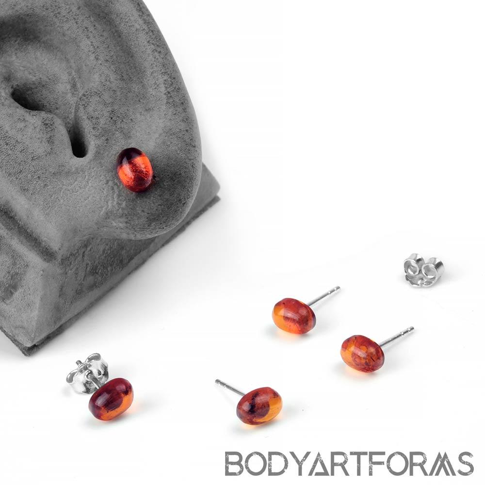 Large Oval Amber Stud Earrings