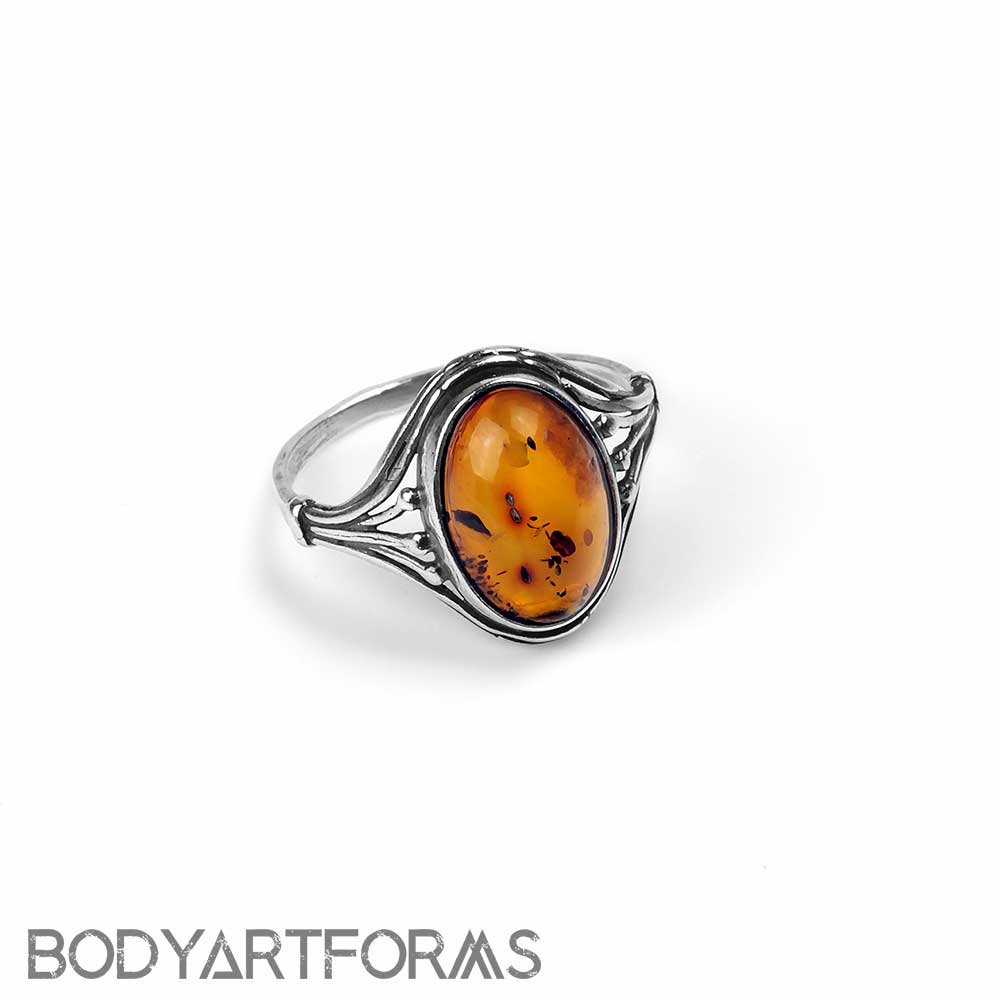 Oval Amber Ring