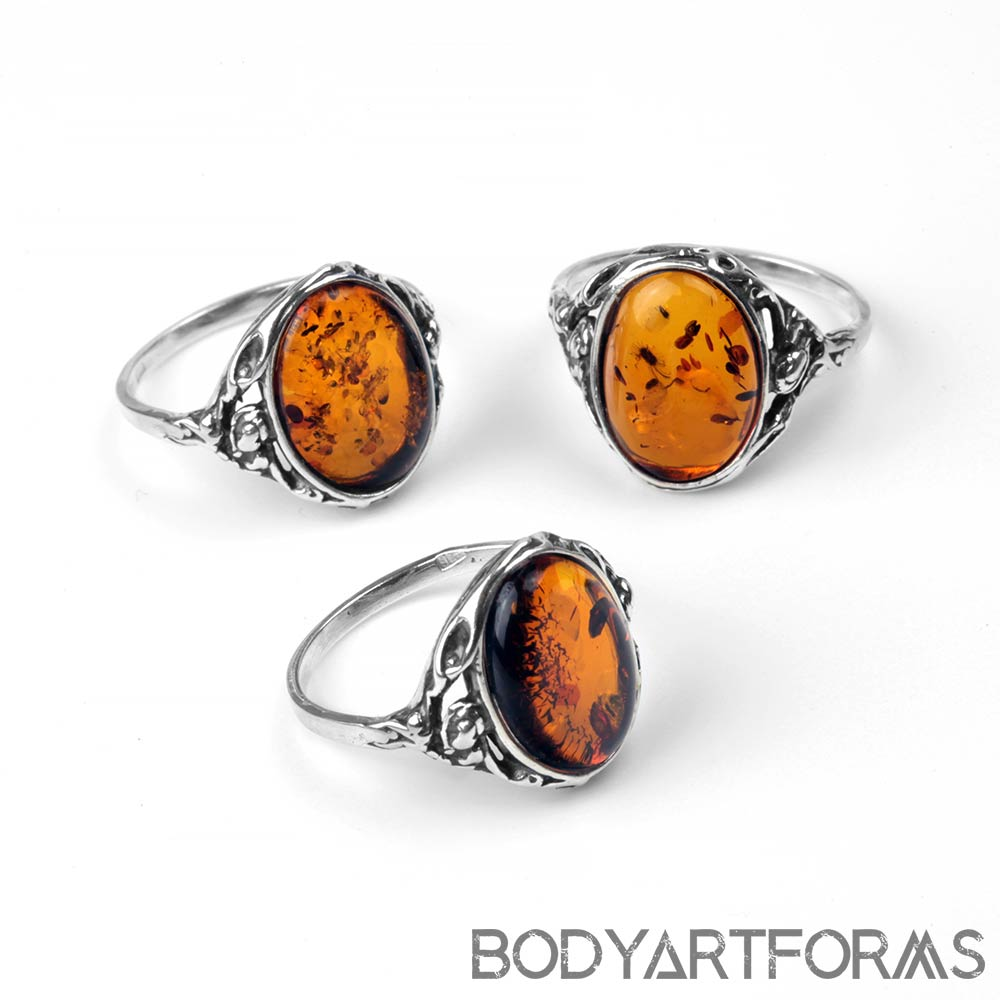Silver and Amber Oval Ring