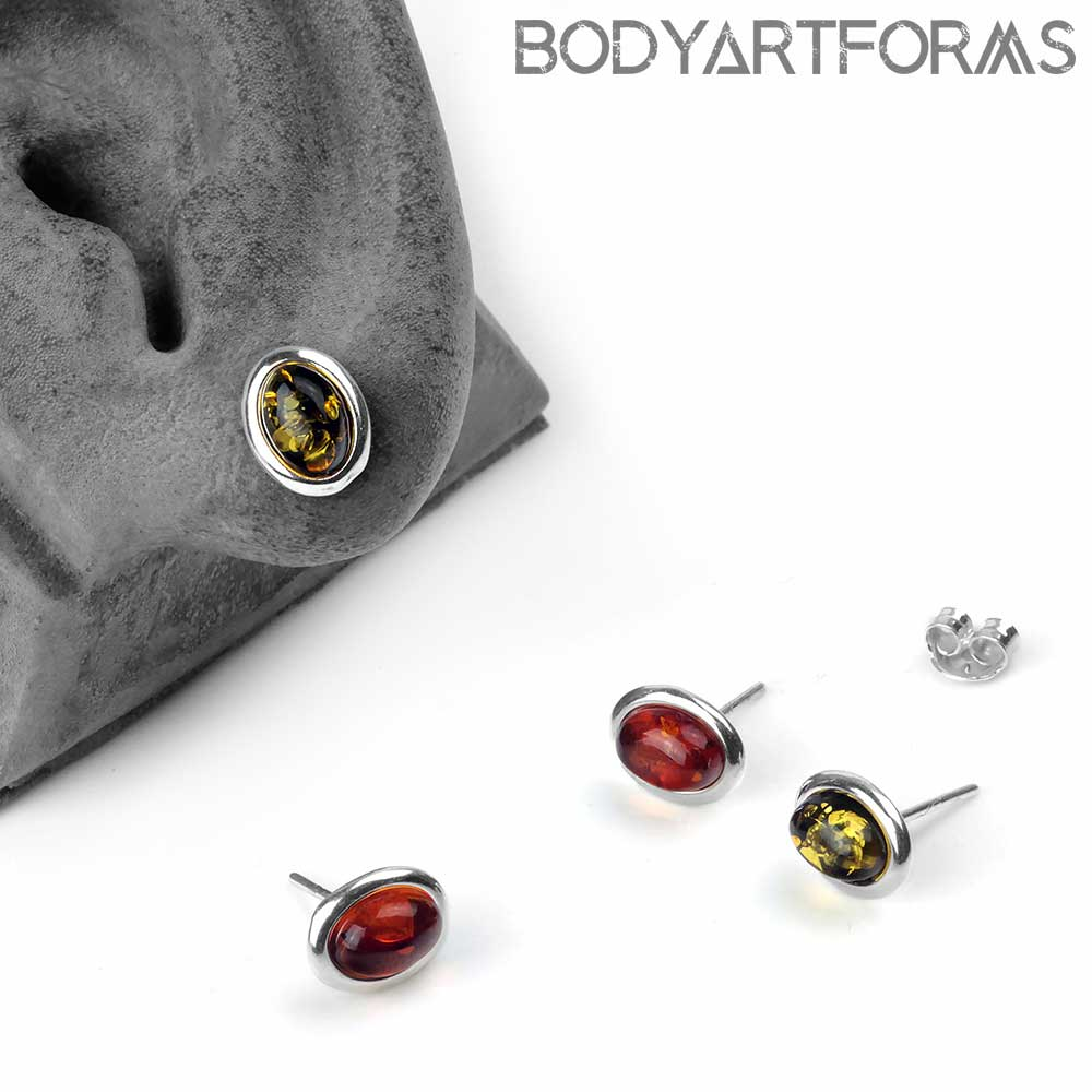 Silver and Amber Oval Stud Earrings