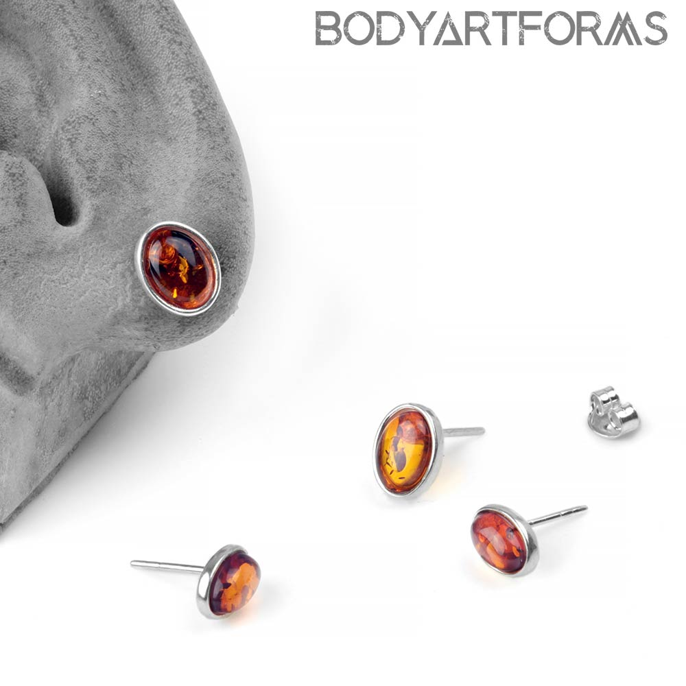 Silver and Oval Amber Stud Earrings