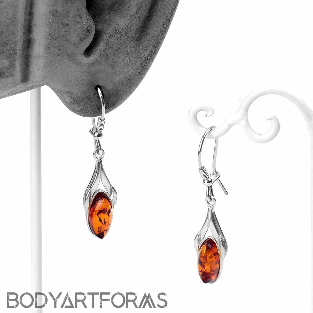 Silver and Amber Pendulum Earrings