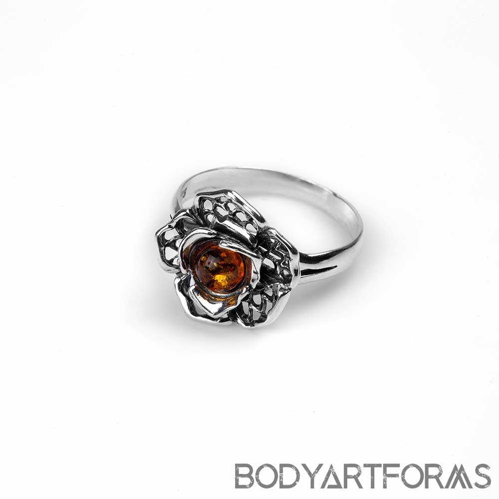 Silver and Amber Petunia Ring