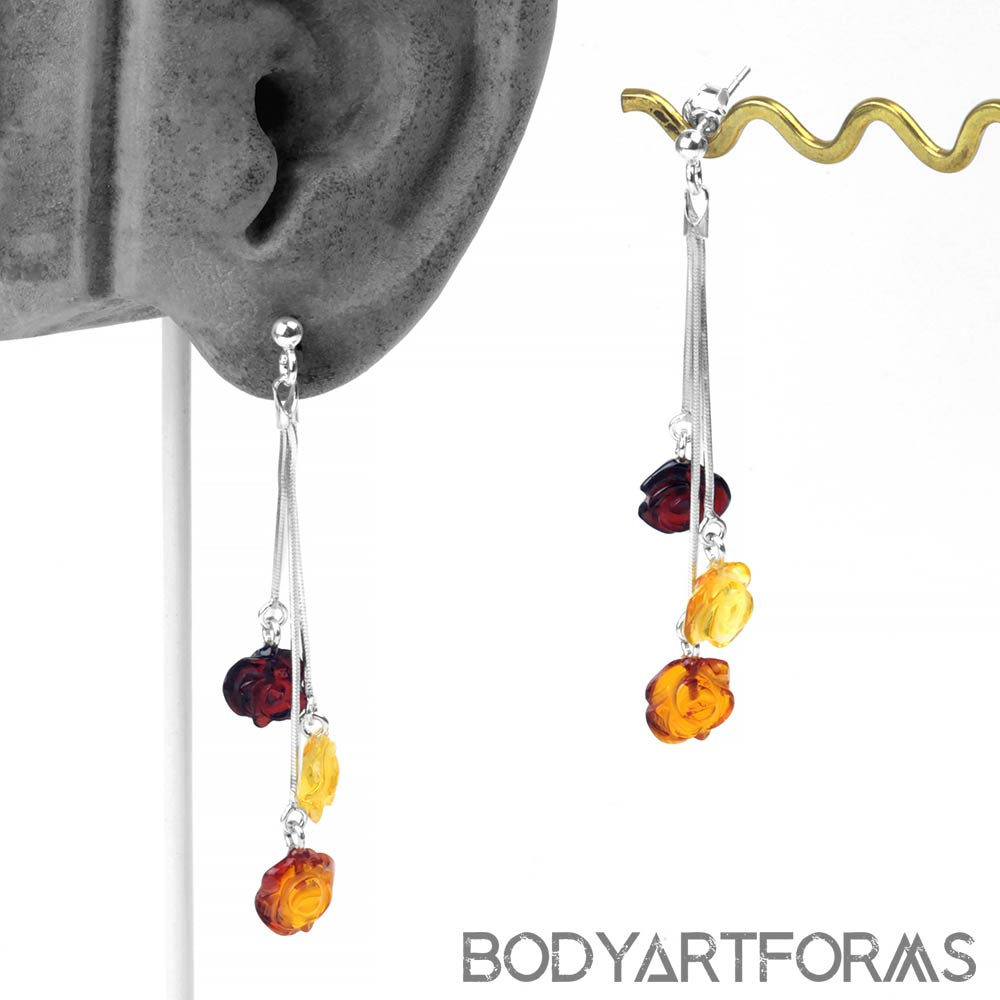 Silver and Amber Rose Drop Earrings