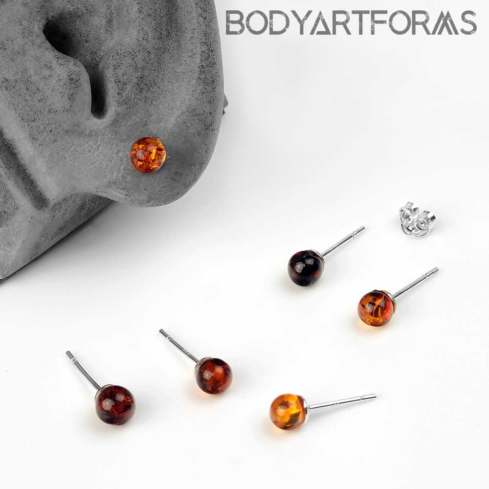 Round Amber Stud Earrings