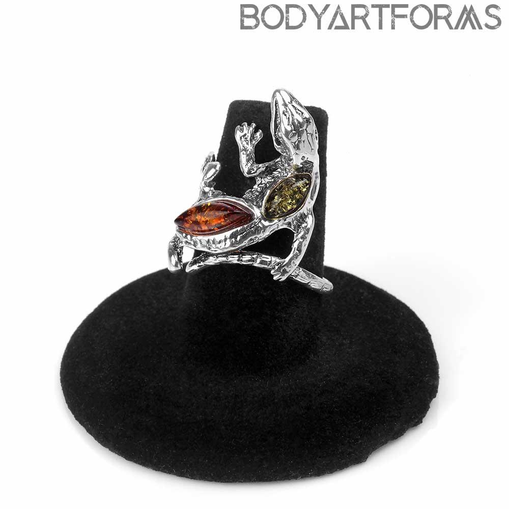 Silver and Amber Adjustable Salamander Ring