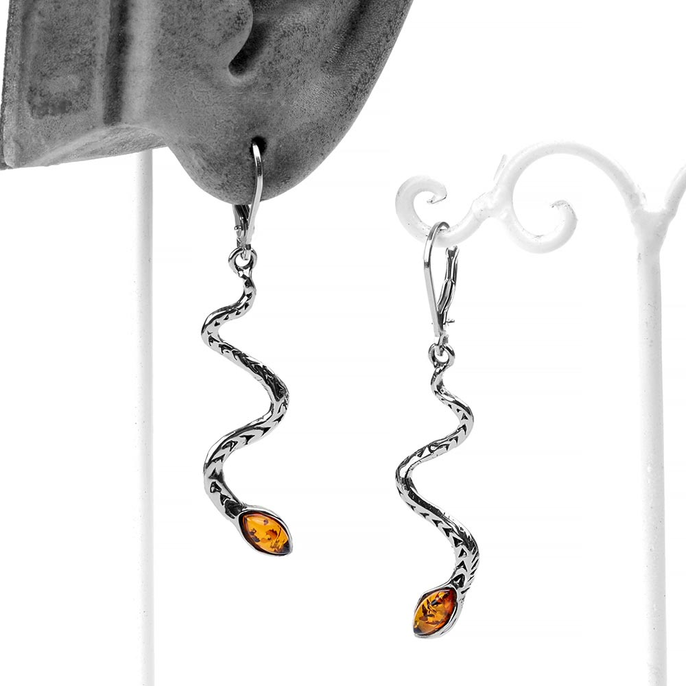 Silver and Amber Snake Dangle Earrings