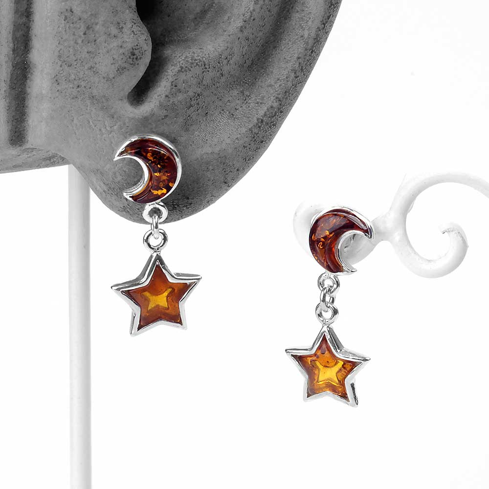 Silver and Amber Moon and Star Earrings