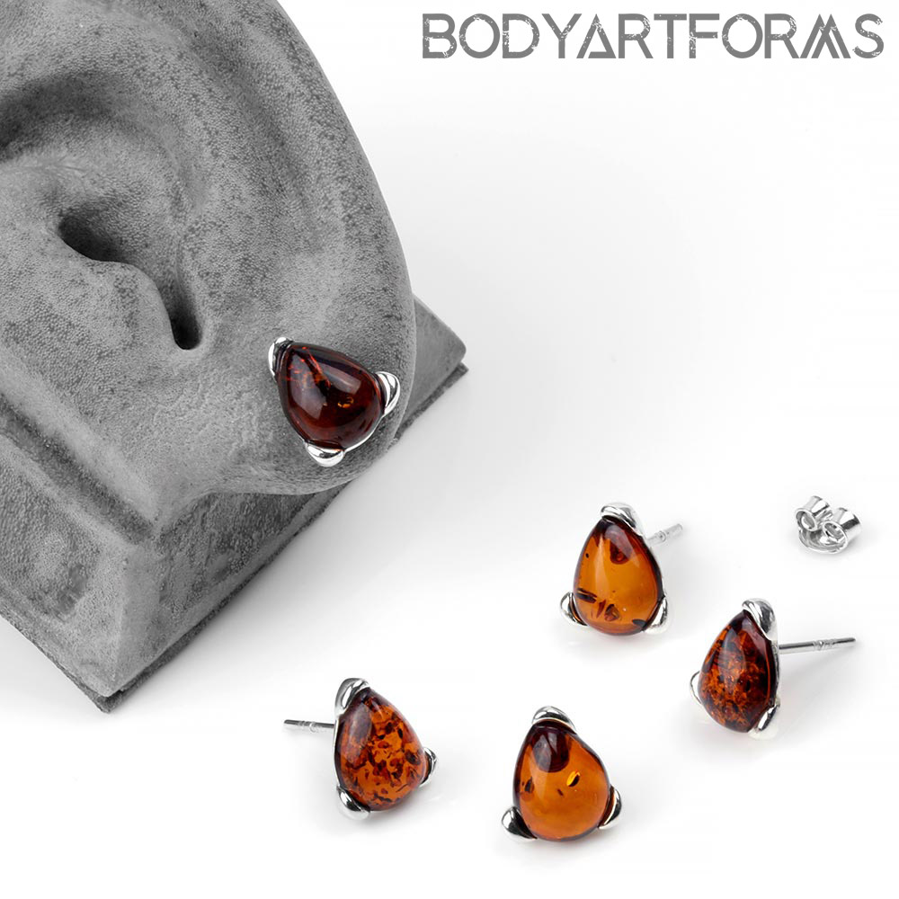 Silver and Amber Stud Earrings