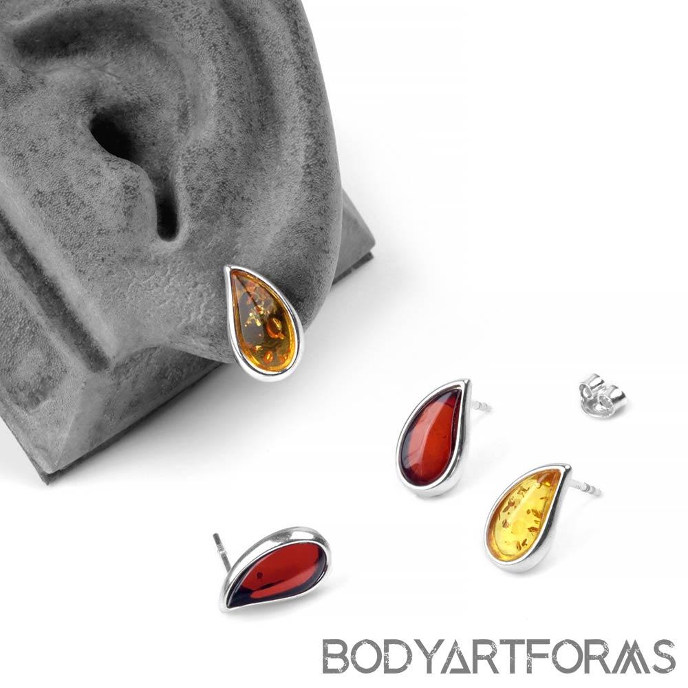 Silver and Amber Teardrop Earrings
