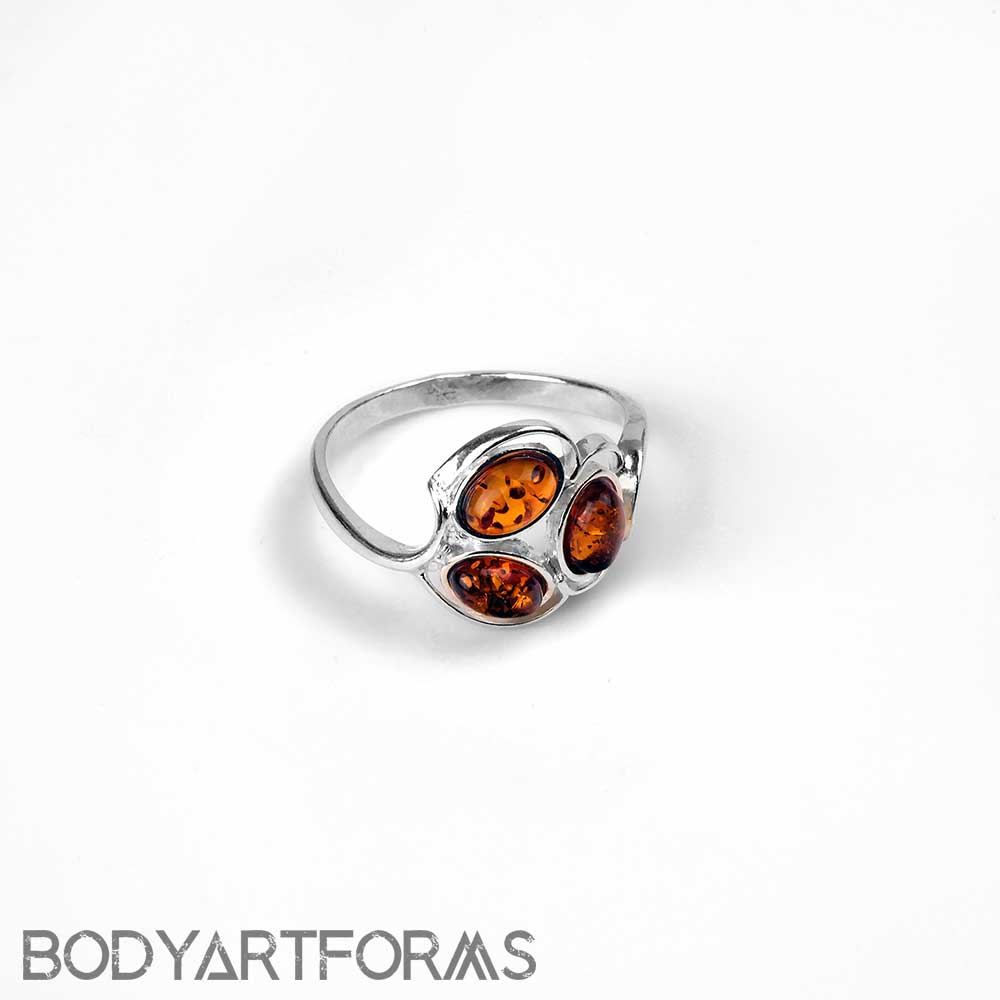 Silver and Amber Triad Ring