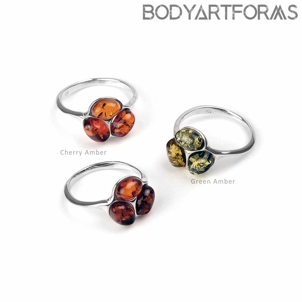 Silver and Amber Trinity Ring