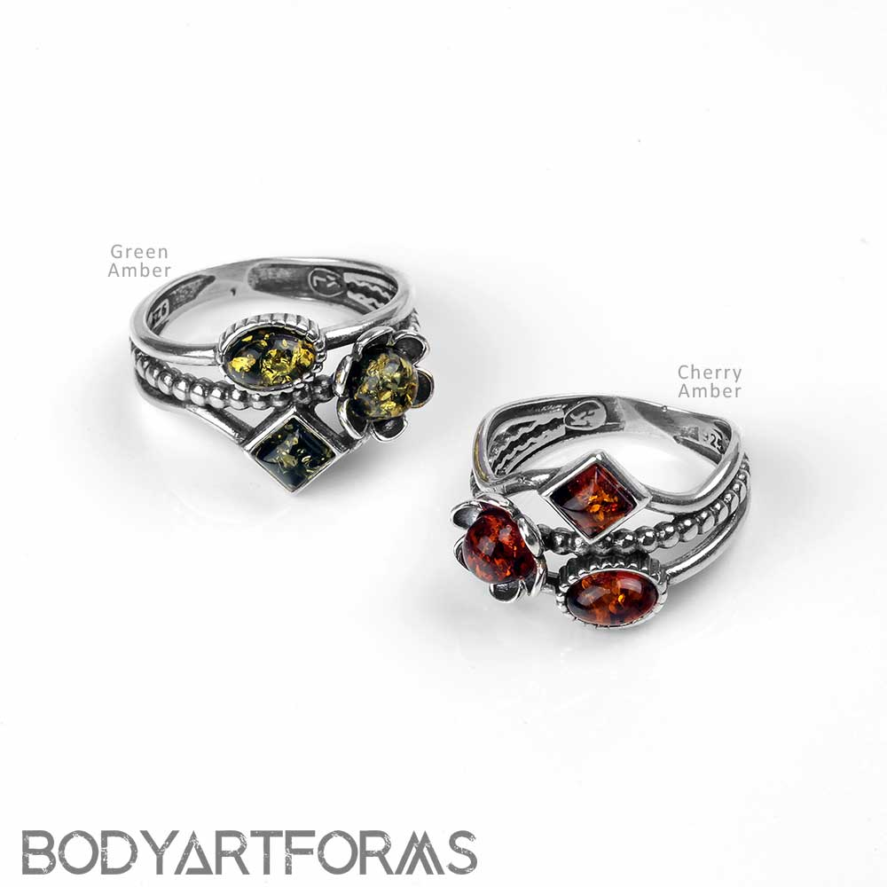 Silver and Amber Trinket Ring