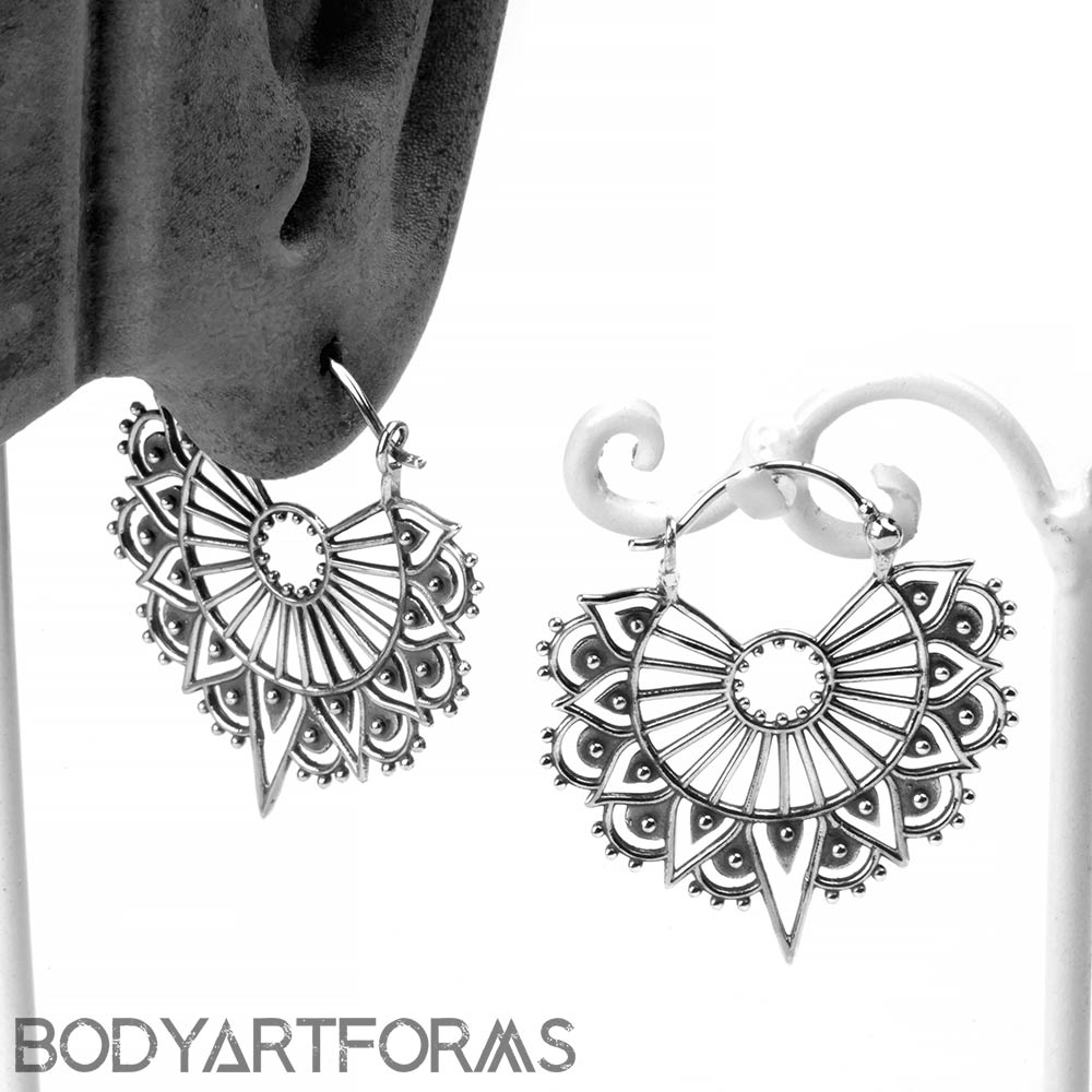 Silver Art Deco Lace Earrings