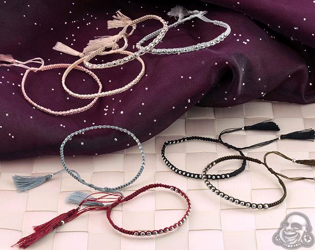 Silver Beaded Tassel Bracelet