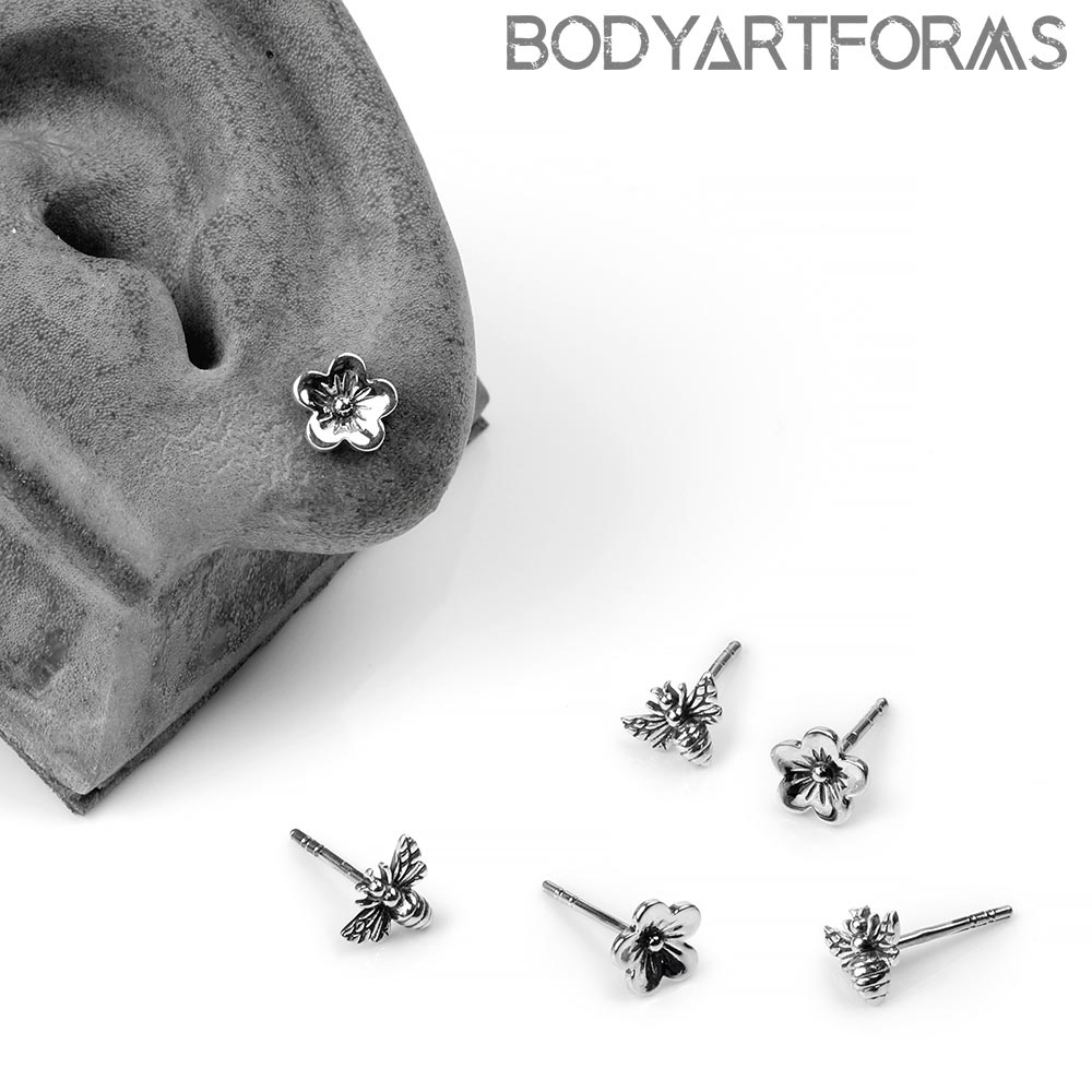 Silver Bee and Cherry Blossom Stud Earrings