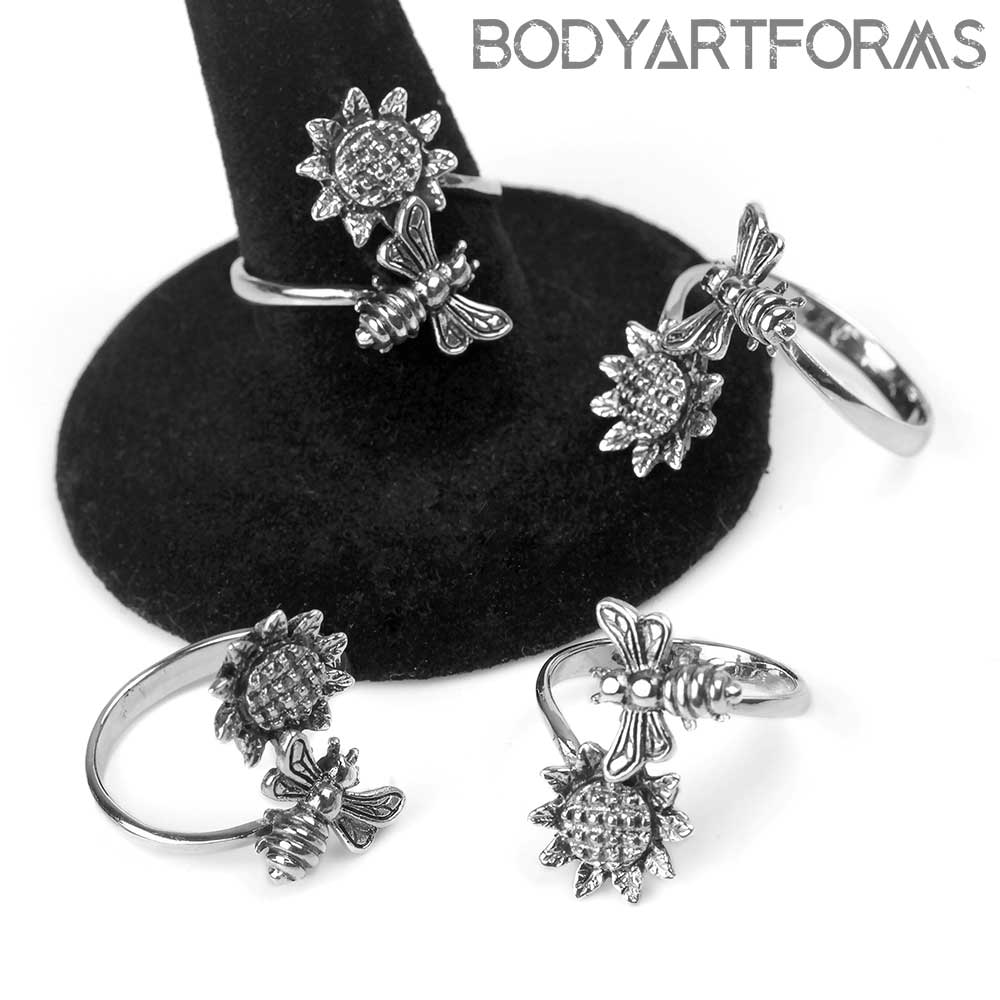 Silver Bee and Sunflower Ring