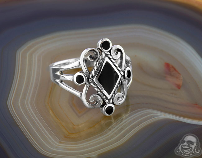 Silver and Black Onyx Diamond Ring