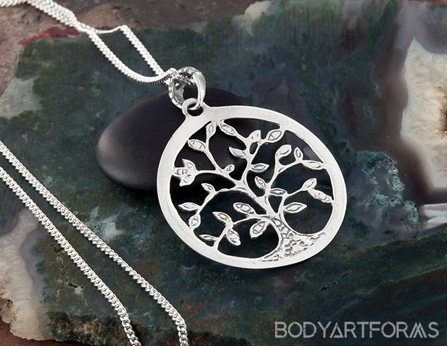 Silver Blooming Tree of Life Necklace