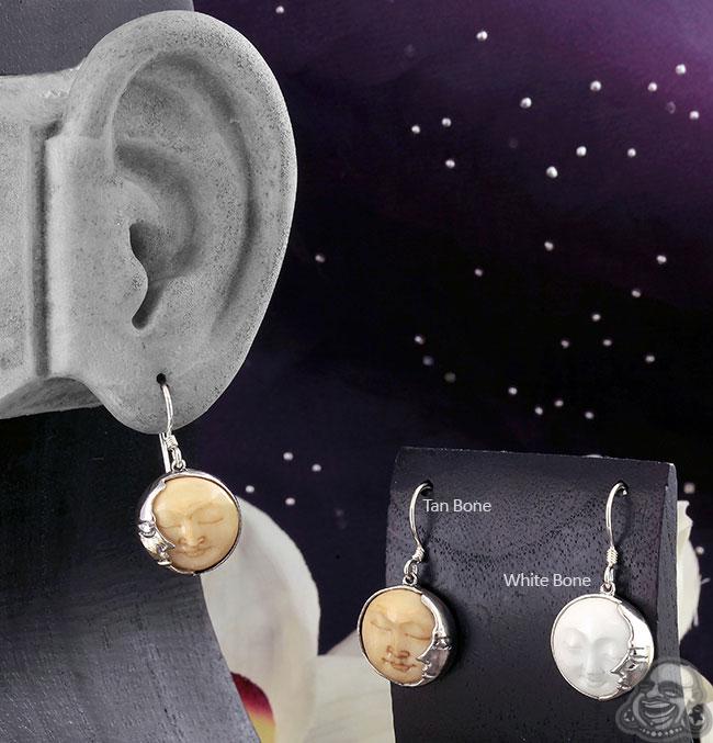 Silver and Bone Celestial Earrings