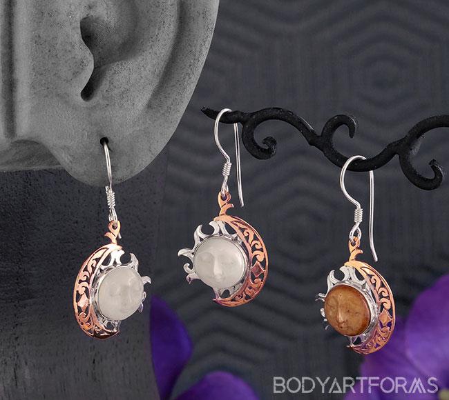 Bone Moon and Sun Earrings