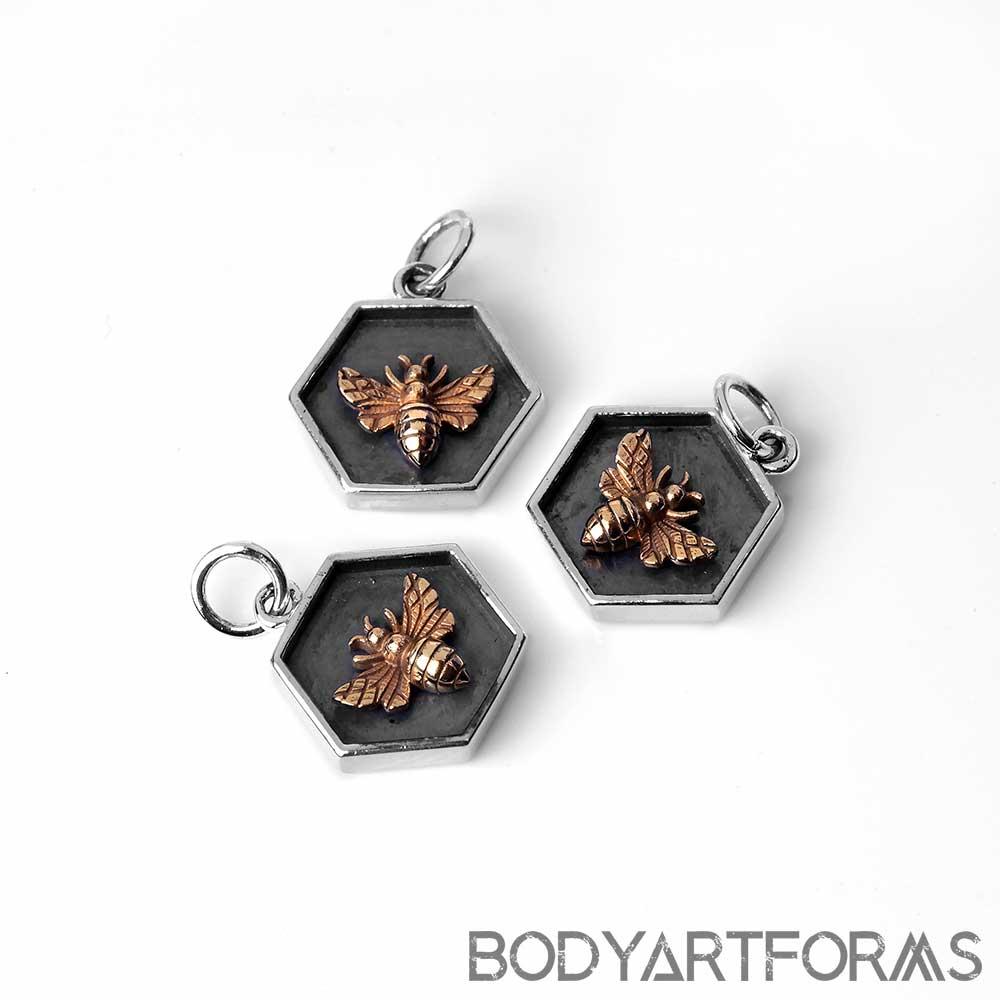 Hexagon Honeybee Pendant