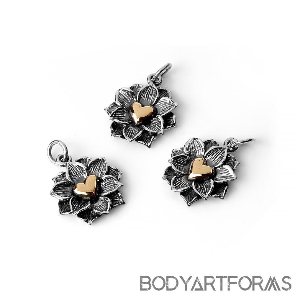 Silver Lotus Heart Pendant