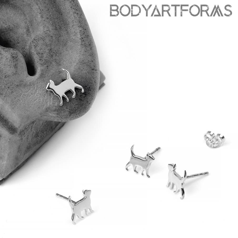 Silver Curious Kitten Stud Earrings